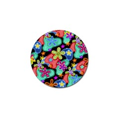 Colorful Retro Flowers Fractalius Pattern 1 Golf Ball Marker by EDDArt