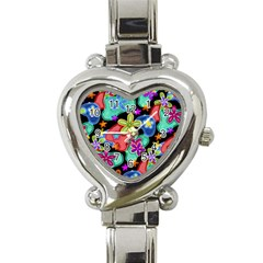 Colorful Retro Flowers Fractalius Pattern 1 Heart Italian Charm Watch by EDDArt