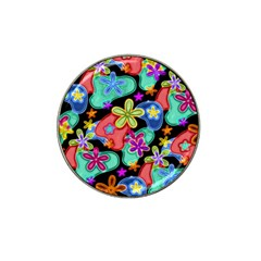Colorful Retro Flowers Fractalius Pattern 1 Hat Clip Ball Marker (4 Pack) by EDDArt