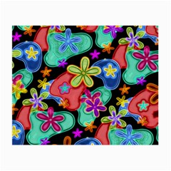 Colorful Retro Flowers Fractalius Pattern 1 Small Glasses Cloth by EDDArt