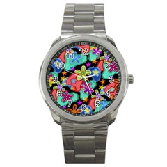 Colorful Retro Flowers Fractalius Pattern 1 Sport Metal Watch by EDDArt