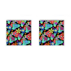Colorful Retro Flowers Fractalius Pattern 1 Cufflinks (square) by EDDArt
