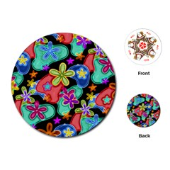 Colorful Retro Flowers Fractalius Pattern 1 Playing Cards (round)  by EDDArt
