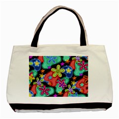 Colorful Retro Flowers Fractalius Pattern 1 Basic Tote Bag by EDDArt
