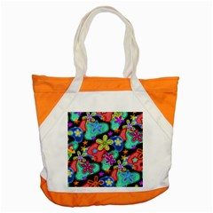 Colorful Retro Flowers Fractalius Pattern 1 Accent Tote Bag by EDDArt