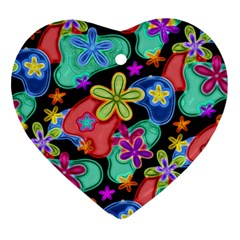 Colorful Retro Flowers Fractalius Pattern 1 Heart Ornament (two Sides) by EDDArt