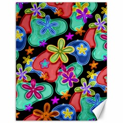 Colorful Retro Flowers Fractalius Pattern 1 Canvas 12  X 16   by EDDArt