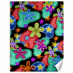 Colorful Retro Flowers Fractalius Pattern 1 Canvas 36  X 48   by EDDArt