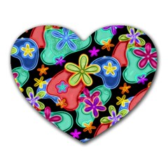 Colorful Retro Flowers Fractalius Pattern 1 Heart Mousepads by EDDArt