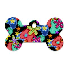 Colorful Retro Flowers Fractalius Pattern 1 Dog Tag Bone (one Side) by EDDArt