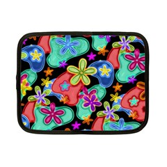Colorful Retro Flowers Fractalius Pattern 1 Netbook Case (small)  by EDDArt