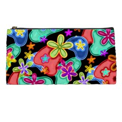 Colorful Retro Flowers Fractalius Pattern 1 Pencil Cases by EDDArt