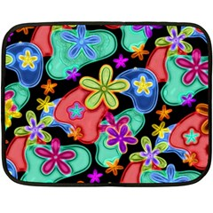 Colorful Retro Flowers Fractalius Pattern 1 Double Sided Fleece Blanket (mini)  by EDDArt