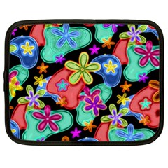 Colorful Retro Flowers Fractalius Pattern 1 Netbook Case (xl)  by EDDArt