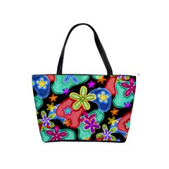 Colorful Retro Flowers Fractalius Pattern 1 Shoulder Handbags by EDDArt