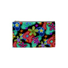 Colorful Retro Flowers Fractalius Pattern 1 Cosmetic Bag (small) by EDDArt