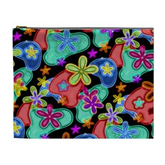 Colorful Retro Flowers Fractalius Pattern 1 Cosmetic Bag (xl) by EDDArt
