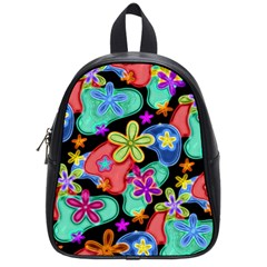 Colorful Retro Flowers Fractalius Pattern 1 School Bag (small) by EDDArt