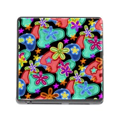 Colorful Retro Flowers Fractalius Pattern 1 Memory Card Reader (square 5 Slot) by EDDArt