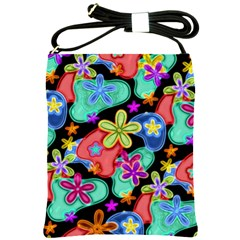 Colorful Retro Flowers Fractalius Pattern 1 Shoulder Sling Bags by EDDArt