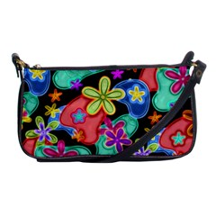 Colorful Retro Flowers Fractalius Pattern 1 Shoulder Clutch Bags by EDDArt