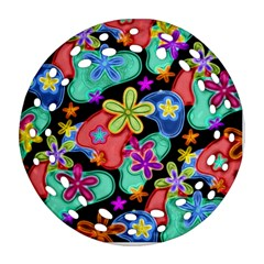 Colorful Retro Flowers Fractalius Pattern 1 Ornament (round Filigree) by EDDArt