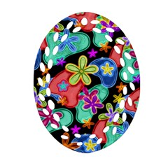 Colorful Retro Flowers Fractalius Pattern 1 Ornament (oval Filigree) by EDDArt