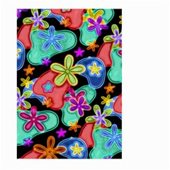 Colorful Retro Flowers Fractalius Pattern 1 Large Garden Flag (two Sides) by EDDArt