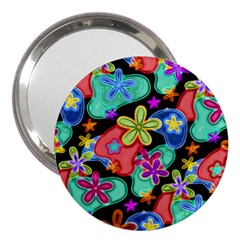 Colorful Retro Flowers Fractalius Pattern 1 3  Handbag Mirrors by EDDArt