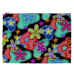 Colorful Retro Flowers Fractalius Pattern 1 Cosmetic Bag (xxl) by EDDArt