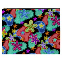 Colorful Retro Flowers Fractalius Pattern 1 Cosmetic Bag (xxxl) by EDDArt