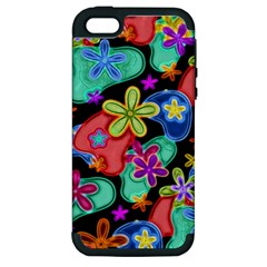 Colorful Retro Flowers Fractalius Pattern 1 Apple Iphone 5 Hardshell Case (pc+silicone) by EDDArt