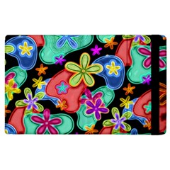 Colorful Retro Flowers Fractalius Pattern 1 Apple Ipad 3/4 Flip Case by EDDArt