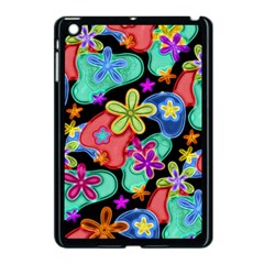 Colorful Retro Flowers Fractalius Pattern 1 Apple Ipad Mini Case (black) by EDDArt