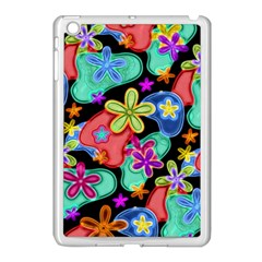 Colorful Retro Flowers Fractalius Pattern 1 Apple Ipad Mini Case (white) by EDDArt