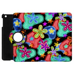 Colorful Retro Flowers Fractalius Pattern 1 Apple Ipad Mini Flip 360 Case by EDDArt