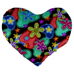 Colorful Retro Flowers Fractalius Pattern 1 Large 19  Premium Heart Shape Cushions by EDDArt