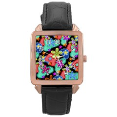 Colorful Retro Flowers Fractalius Pattern 1 Rose Gold Leather Watch  by EDDArt
