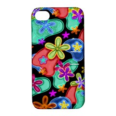 Colorful Retro Flowers Fractalius Pattern 1 Apple Iphone 4/4s Hardshell Case With Stand by EDDArt