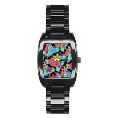 Colorful Retro Flowers Fractalius Pattern 1 Stainless Steel Barrel Watch by EDDArt