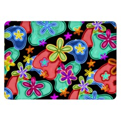Colorful Retro Flowers Fractalius Pattern 1 Samsung Galaxy Tab 8 9  P7300 Flip Case by EDDArt