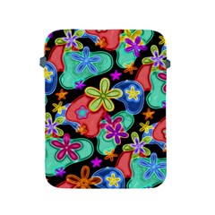 Colorful Retro Flowers Fractalius Pattern 1 Apple Ipad 2/3/4 Protective Soft Cases by EDDArt