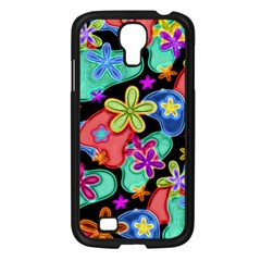 Colorful Retro Flowers Fractalius Pattern 1 Samsung Galaxy S4 I9500/ I9505 Case (black) by EDDArt