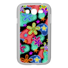 Colorful Retro Flowers Fractalius Pattern 1 Samsung Galaxy Grand Duos I9082 Case (white) by EDDArt