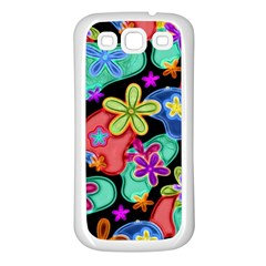 Colorful Retro Flowers Fractalius Pattern 1 Samsung Galaxy S3 Back Case (white) by EDDArt
