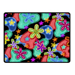 Colorful Retro Flowers Fractalius Pattern 1 Double Sided Fleece Blanket (small)  by EDDArt