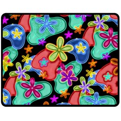 Colorful Retro Flowers Fractalius Pattern 1 Double Sided Fleece Blanket (medium)  by EDDArt