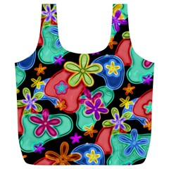 Colorful Retro Flowers Fractalius Pattern 1 Full Print Recycle Bags (l)  by EDDArt