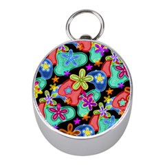 Colorful Retro Flowers Fractalius Pattern 1 Mini Silver Compasses by EDDArt