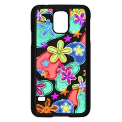 Colorful Retro Flowers Fractalius Pattern 1 Samsung Galaxy S5 Case (black) by EDDArt